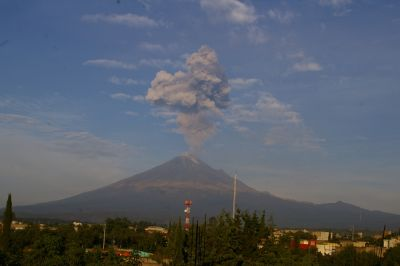 Popocatépetl viewed from San Andrés Calpan. Yes, that is ash above the volcano.